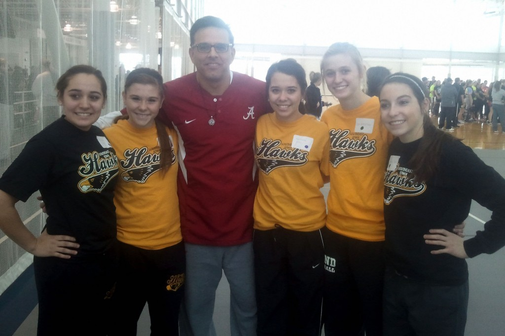 Photo by Steve CoffinWest Burlington / Notre Dame Softball players meet University of Alabama Softball Head Coach, Pat Murphy at Kirkwood Community College Softball Camp in Cedar Rapids Friday. Murphy coached the University of Alabama to the 2012 National Softball Championship. Left to right: Brandall Diaz, Riley Hale, University of Alabama Head Coach Patrick Murphy, Machaela Diaz, Kori Mesecher & Courtney Coffin.