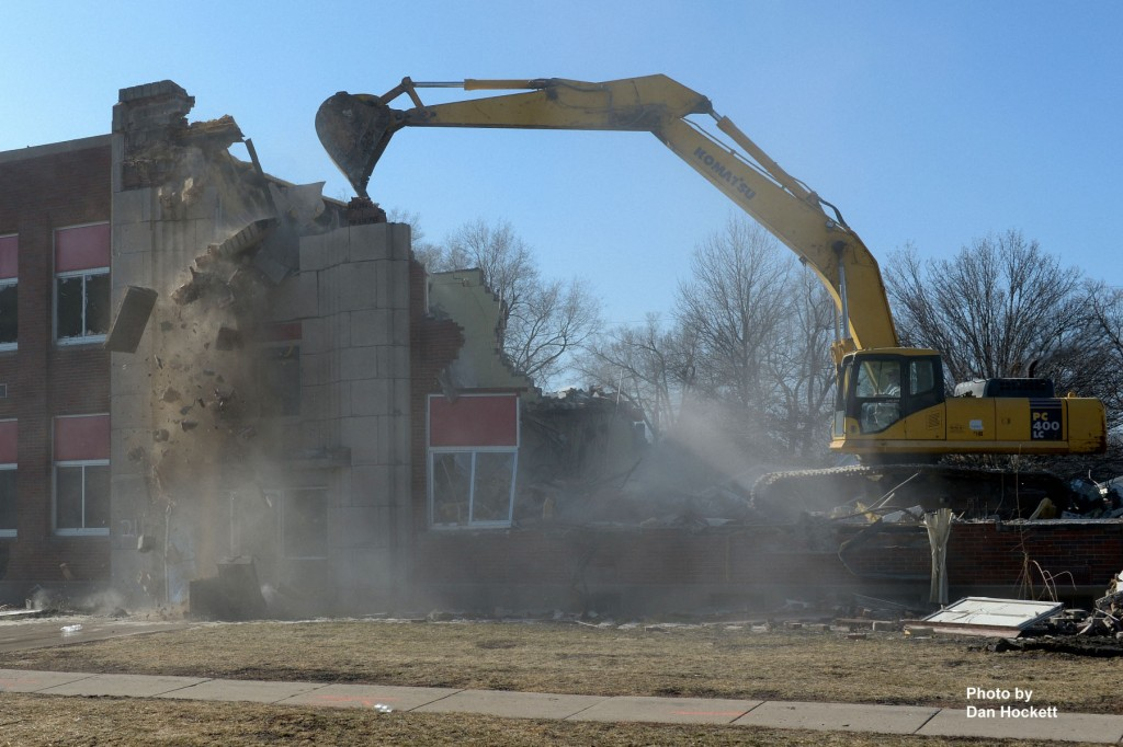 Photo by Dan Hockett Langman Construction from Rock Island, Illinois razes the old West Burlington Middle School under contract for the City of West Burlington. The building was constructed during the 1930s as a WPA project under President Franklin Roosevelt.