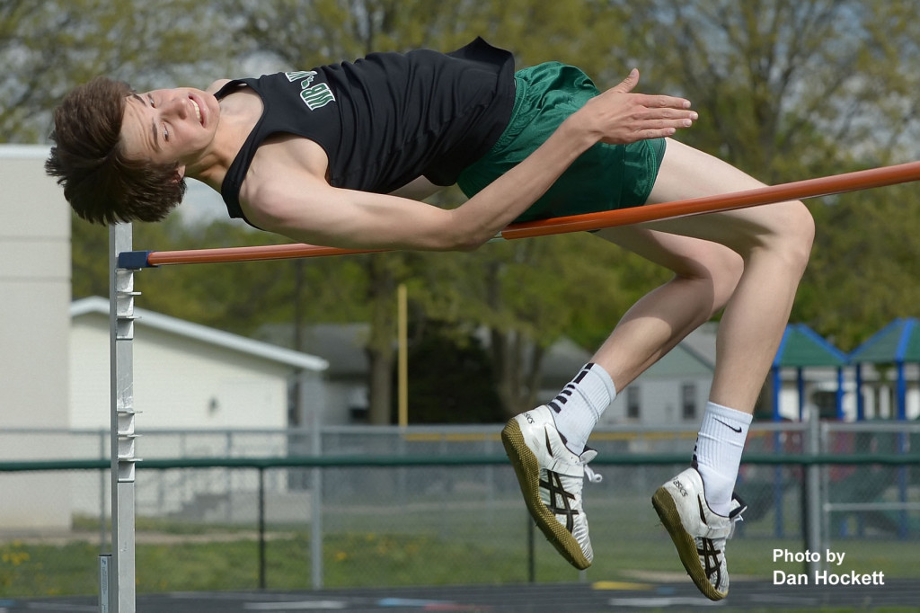 """Photo by Dan Hockett West Burlington / Notre Dame's Jeff Gianettinno clears the high jump bar at 6'9"""" setting a new Southeast Iowa Super Conference record during Monday's South Division Conference Meet in West Burlington. Gianettinno broke the old record of 6'7"""" set in 2008 by Pekin's Jordan Sathoff."""