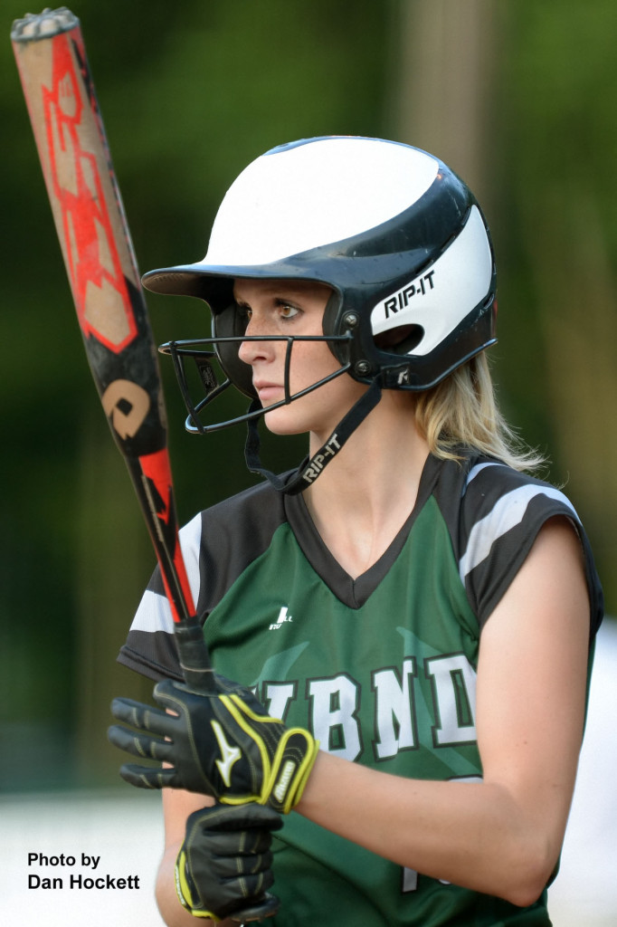 Photo by Dan Hockett West Burlington – Notre Dame Batter Kori Mesecher readies herself before stepping in the box Monday night during the Region-6 Final Monday night in Ottumwa. West Burlington – Notre Dame fell to Clarke, 3-2.