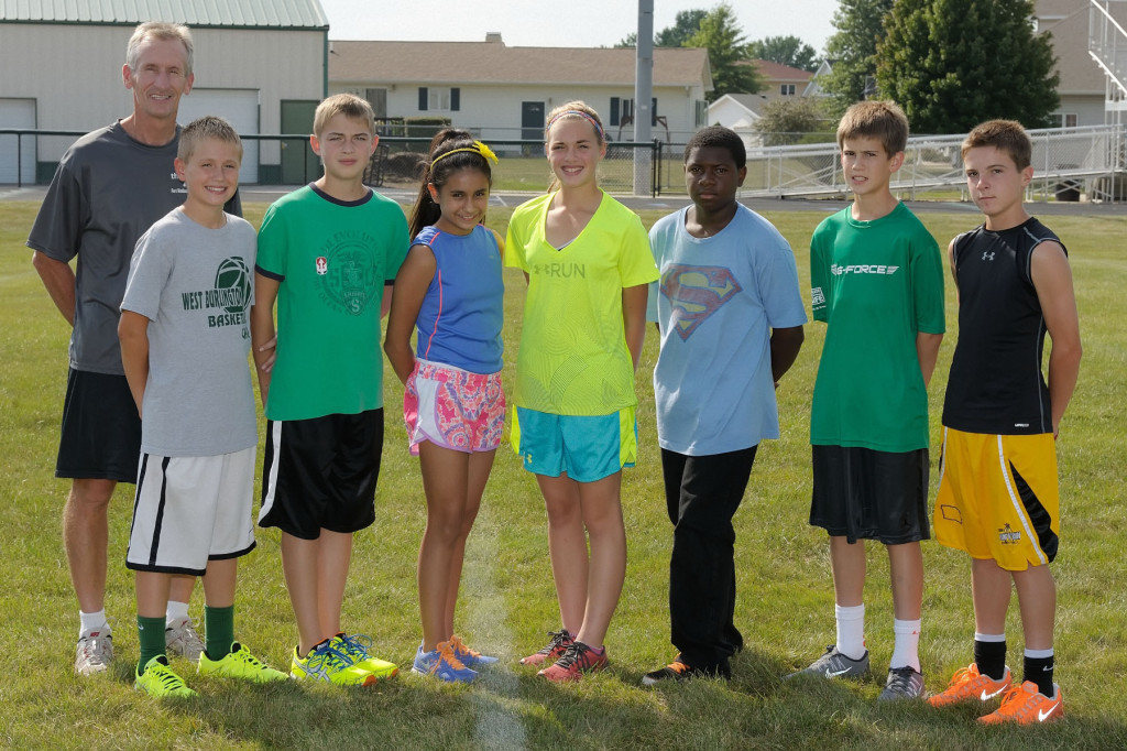 Arranged by Studio K, Photo by Dan Hockett (l-r): Coach Steve Myrtue, Jonah Marlow, Owen Gach, Kassidy Rashid, Haley Engler, Charlie Collins, Gavin Kies, Max Wilcox.