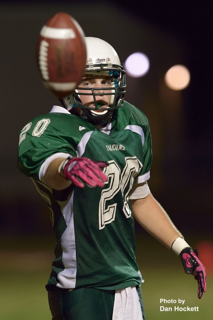Photo by Dan Hockett West Burlington – Notre Dame Tight End Clay Siefken tosses the ball to an official after scoring a touchdown in the third quarter of Friday night's homecoming game in West Burlington. L&M defeated WBND, 72-34.