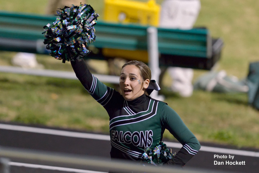 Photo by Dan Hockett West Burlington – Notre Dame Cheerleader Brandall Diaz cheers during West Burlington's homecoming game Friday night in West Burlington.