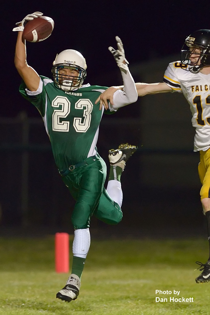 Photo by Dan Hockett West Burlington – Notre Dame Running Back Xavior Williams one hands a touchdown pass that was called back on a penalty in the second quarter of Friday night's homecoming game in West Burlington. L&M defeated WBND, 72-34.