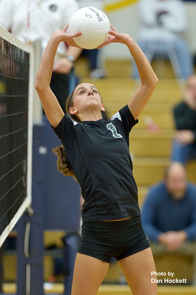 Photo by Dan Hockett West Burlington's Aubrey Schmitt sets the ball for her teammates during Friday night's Region-8 semifinal in Iowa City. Iowa City Regina defeated West Burlington, 25-23, 25-17, 25-16.