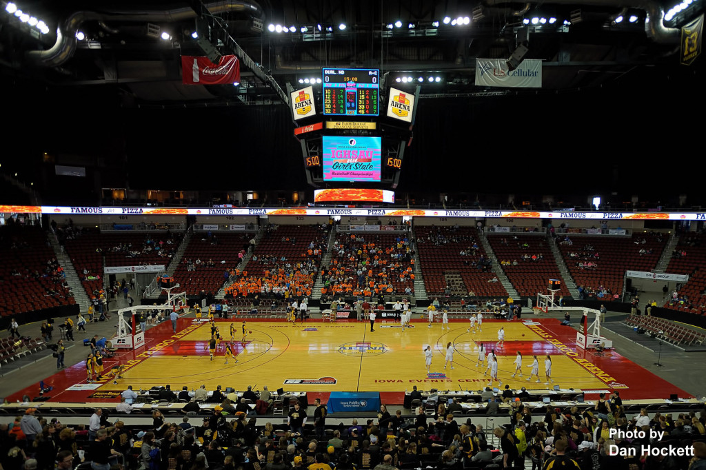 Photo by Dan Hockett Notre Dame warms up in the right court, Adair – Casey in the left court, before the start of the Class 1A State Quarterfinal Monday afternoon at Wells Fargo Arena in Des Moines.