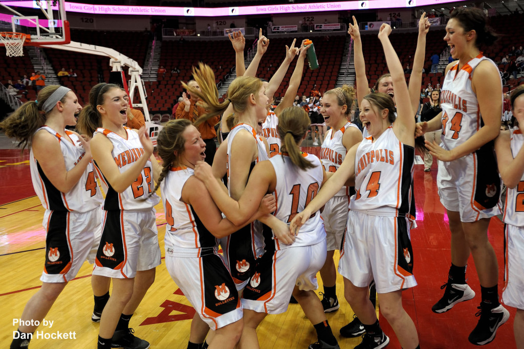 Photo by Dan Hockett Mediapolis teammates celebrate after defeating Williamsburg, 61-43, in the State Class-3A Quarterfinal at Wells Fargo Arena Tuesday in Des Moines.  Mediapolis will face off against MOC-Floyd Valley in the State Semifinal Thursday at 5:00pm.