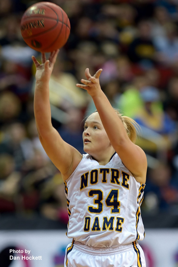 Photo by Dan Hockett Notre Dame's Alyssa Schwartz shoots during the Class 1A State Quarterfinal against Adair –Casey Monday afternoon at Wells Fargo Arena in Des Moines.