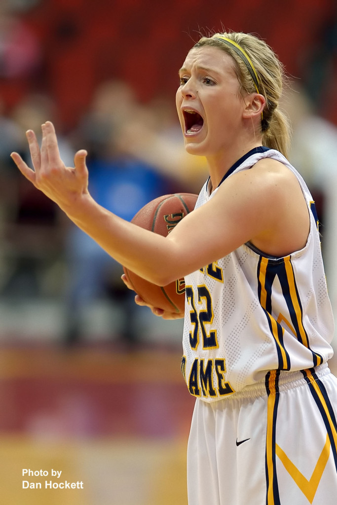 Photo by Dan Hockett Notre Dame's Taylor Hickey calls out the play during at the Class 1A State Quarterfinal against Adair –Casey Monday afternoon at Wells Fargo Arena in Des Moines.