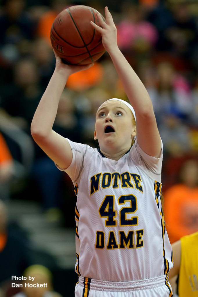 Photo by Dan Hockett Notre Dame's Emily Salvador shoots during the Class 1A State Quarterfinal against Adair –Casey Monday afternoon at Wells Fargo Arena in Des Moines.