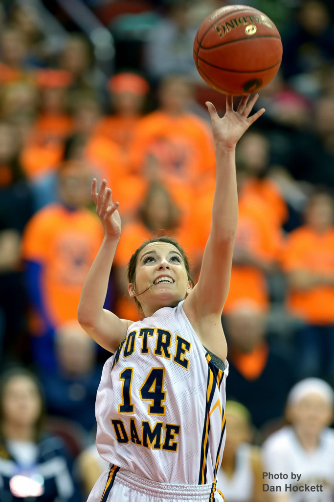 Photo by Dan Hockett Notre Dame's Courtney Coffin shoots during the Class 1A State Quarterfinal against Adair –Casey Monday afternoon at Wells Fargo Arena in Des Moines.