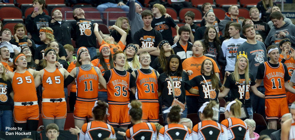 Photo by Dan Hockett Mediapolis Students cheer their team on at the State Class-3A Quarterfinal at Wells Fargo Arena Tuesday in Des Moines.