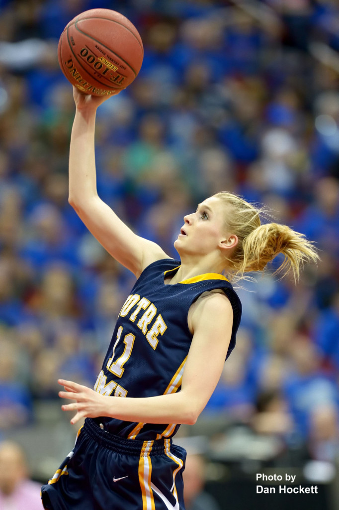 Photo by Dan Hockett Notre Dame's Kori Mesecher hits a layup against Newell-Fonda during the Class 1A State Girls Championship Friday night at Wells Fargo Arena in Des Moines. Notre Dame defeated Newell-Fonda, 57-54.