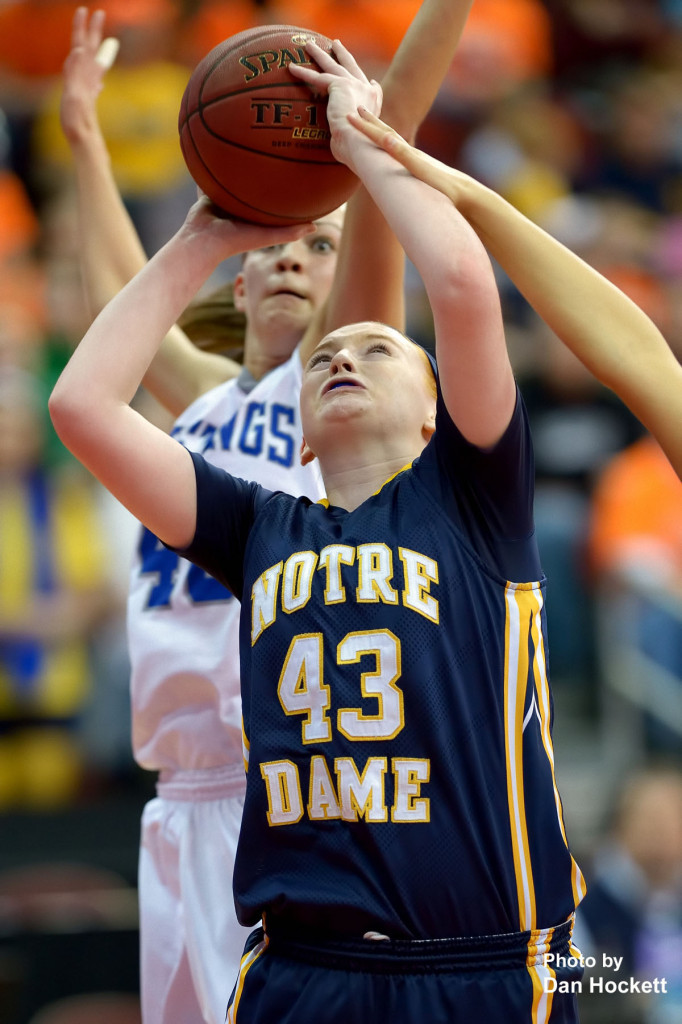 Photo by Dan Hockett Notre Dame's Emily Salvador (43) looks to the net during the Class 1A State Girls Championship Friday night at Wells Fargo Arena in Des Moines. Notre Dame defeated Newell-Fonda, 57-54.