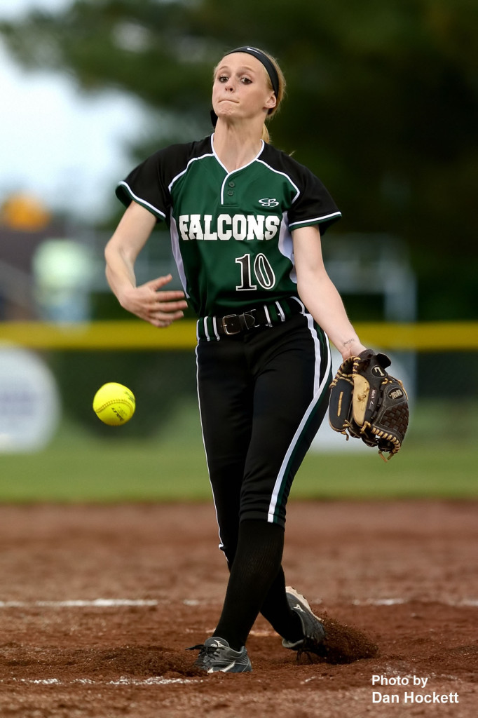 Photo by Dan Hockett West Burlington – Notre Dame Pitcher Kori Mesecher sends the ball to the plate in the second game of a doubleheader Wednesday in Burlington. Burlington won the first game, 5-1. West Burlington – Notre Dame won the second game, 3-1.
