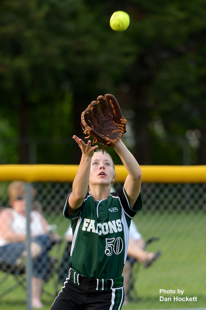 Photo by Dan Hockett West Burlington – Notre Dame Leftfielder Richelle Weeks nabs a popup from a New London batter Thursday night at Barb Carter Field in West Burlington. New London defeated West Burlington – Notre Dame, 7-2.