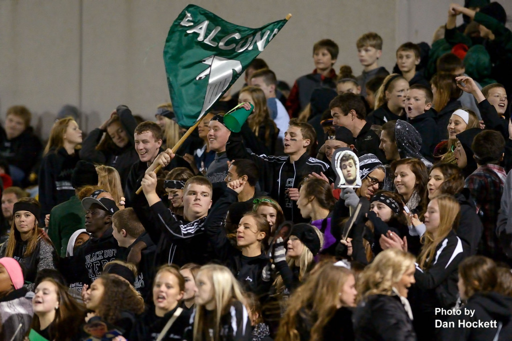 Photo by Dan Hockett West Burlington / Notre Dame Fans cheer for their Falcons Friday night in West Burlington.