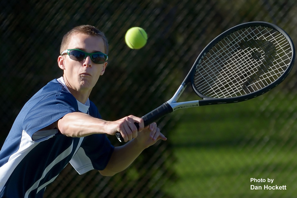 Photo by Dan Hockett Notre Dame – West Burlington's Baron West returns the ball in a doubles match against Keokuk Monday afternoon in Burlington. Nikes fell to Keokuk, 7-2.
