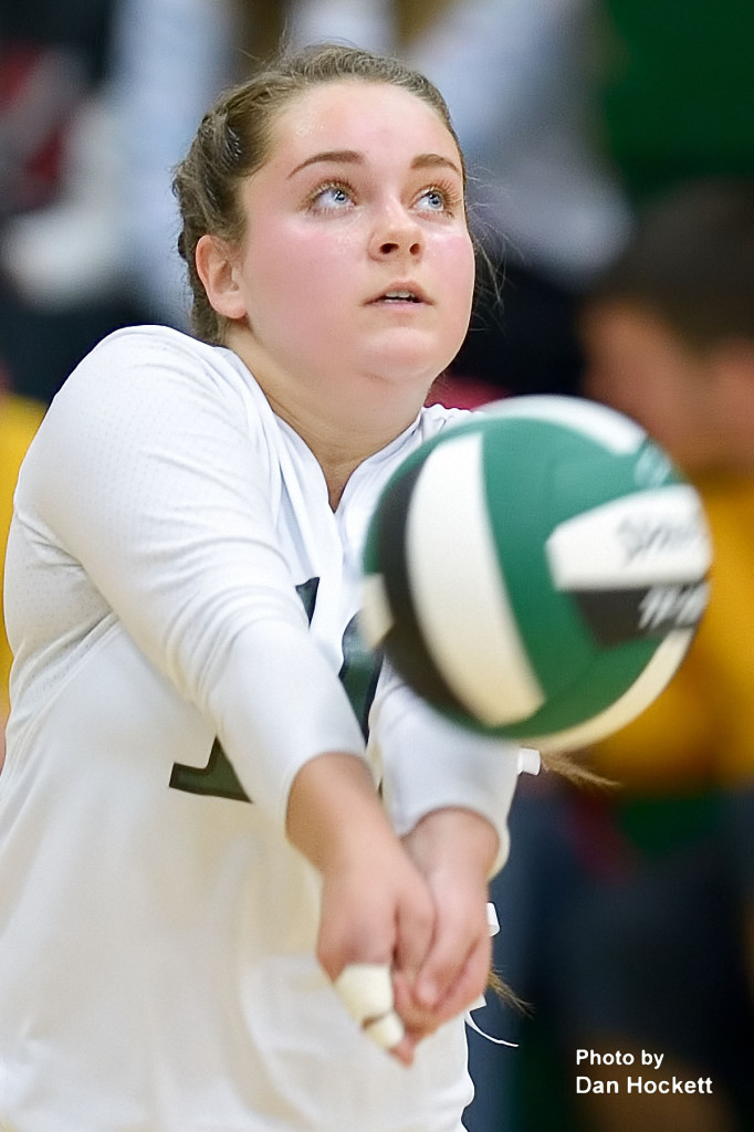 Photo by Dan Hockett West Burlington Libero Haley Snyder bumps the ball in to play against Danville in first round Region-8 play at West Burlington Tuesday night. WB defeated Danville, 25-21, 25-9, 26-24.