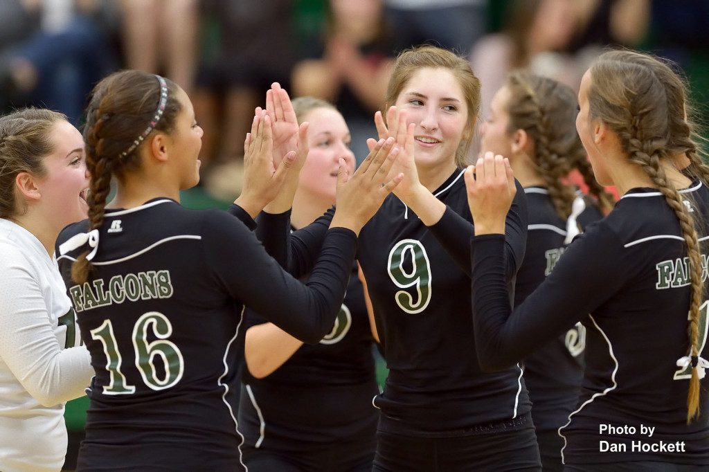 Photo by Dan Hockett West Burlington celebrates after defeating Danville in first round Region-8 play at West Burlington Tuesday night. WB defeated Danville, 25-21, 25-9, 26-24.