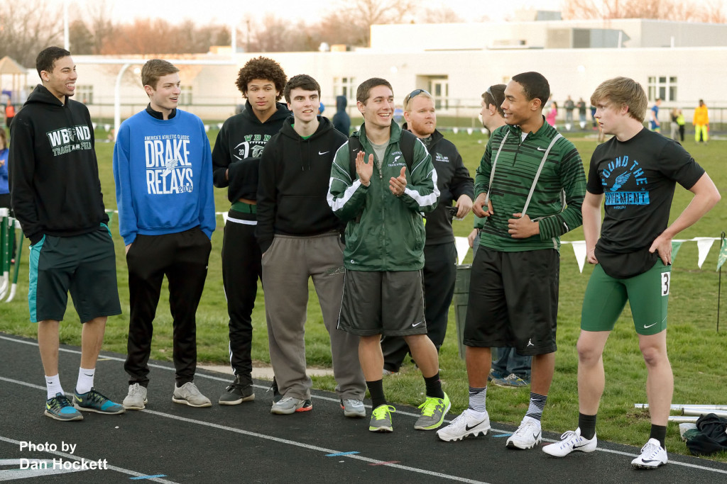 Photo by Dan Hockett West Burlington – Notre Dame 2015 Class 2A State Track Champions are honored at the Falcon Relays Monday night in West Burlington. Team members present are (l-r): Darius Redd, Brant Wrede, Xavier Williams, Logan Hoschek, Spencer Ferguson, Isaiah Trousil, Jacob Smith.