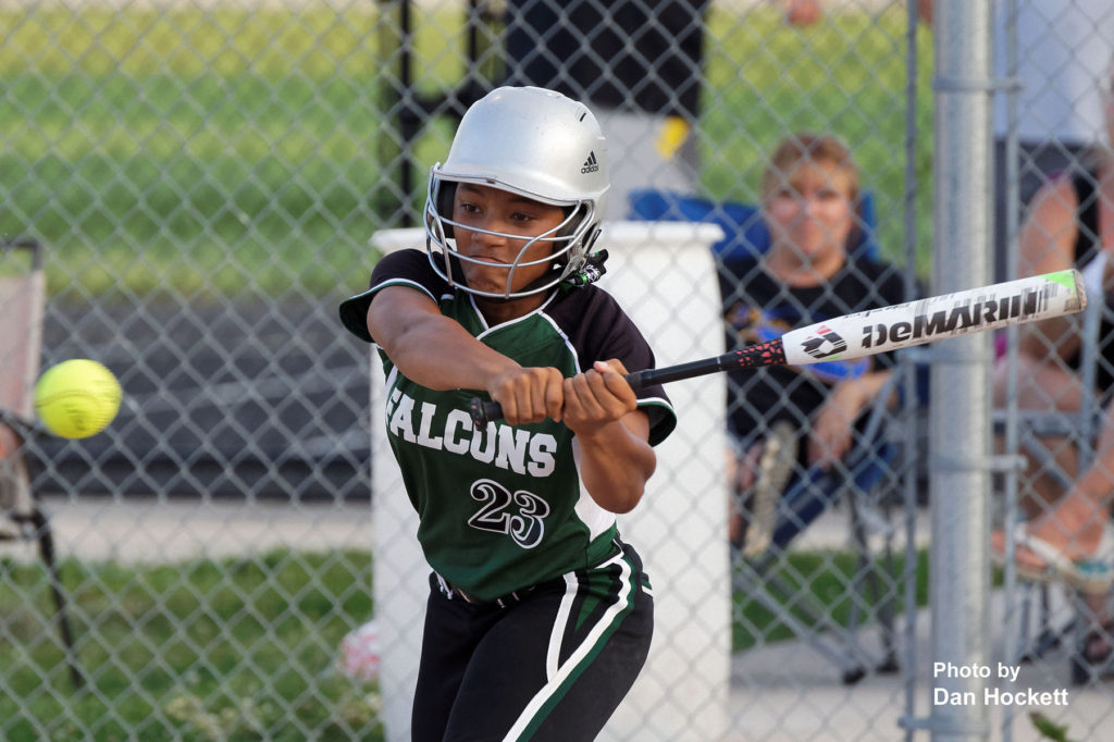 Photo by Dan Hockett West Burlington – Notre Dame's Jashira Baylark looks to make contact against Wapello Tuesday night in West Burlington. Wapello defeated WBND, 8-1.