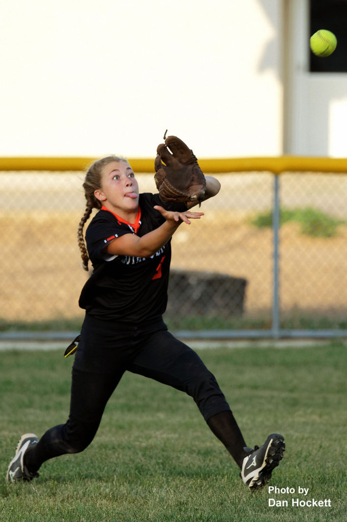 Photo by Dan Hockett Mediapolis Centerfielder Lyndi Vantiger makes a running catch against West Burlington – Notre Dame Monday night in West Burlington. Mediapolis defeated West Burlington – Notre Dame, 11-0.