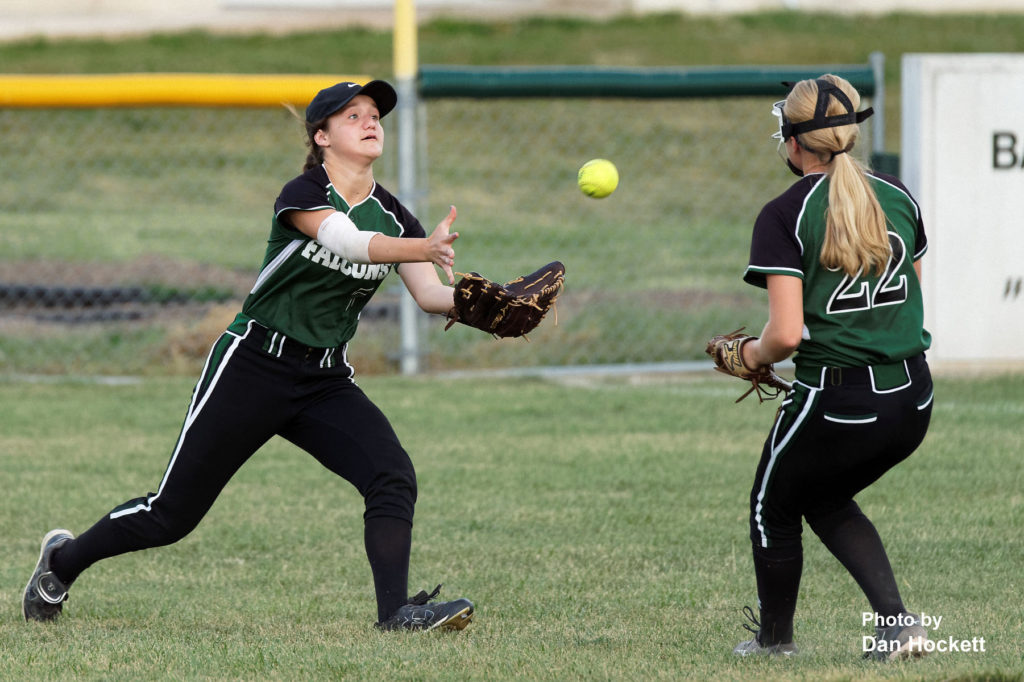Photo by Dan Hockett West Burlington – Notre Dame Right Fielder Adriana Moad makes a running catch against Mediapolis Monday night in West Burlington. Mediapolis defeated West Burlington – Notre Dame, 11-0.