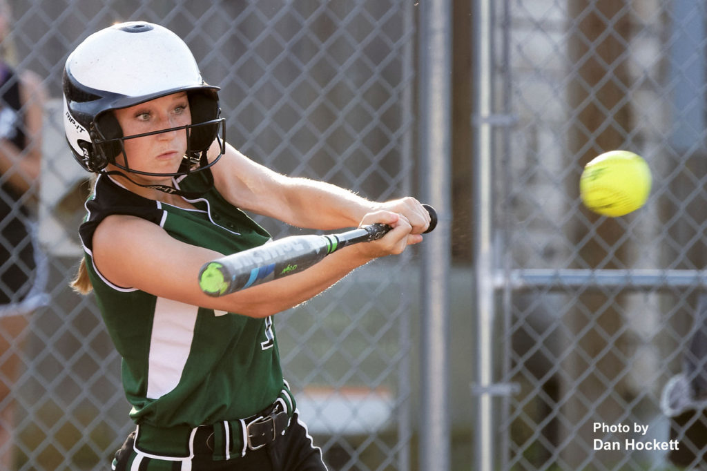 Photo by Dan Hockett West Burlington – Notre Dame's Madelyn Stutsman hits a single against Central Lee in Class 3A, Region-4 quarterfinal, Tuesday night in West Burlington. West Burlington – Notre Dame defeated Central Lee, 9-1.