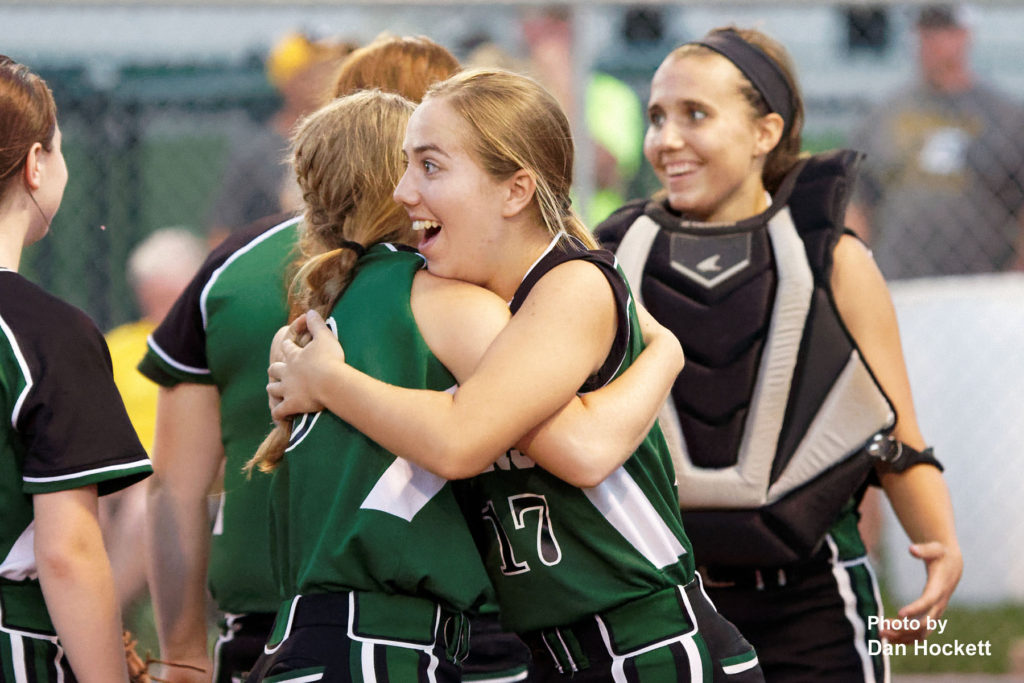 Photo by Dan Hockett West Burlington – Notre Dame's Kiera Brown (17) celebrates with teammates after defeating Central Lee in Class 3A, Region-4 quarterfinal, Tuesday night in West Burlington. West Burlington – Notre Dame defeated Central Lee, 9-1.