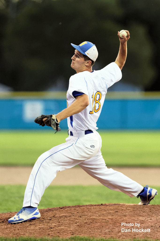 Photo by Dan Hockett Wapello Pitcher Adrian Lanz throws against West Burlington in the Class 2A District-10 quarterfinal Saturday night in Wapello. Wapello defeated West Burlington, 2-0.