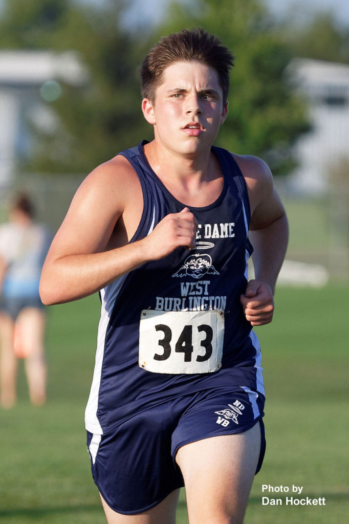Photo by Dan Hockett Notre Dame – West Burlington's Jakob Anderson competes in the Tony Proctor Invitational Cross Country meet in Burlington Thursday afternoon.