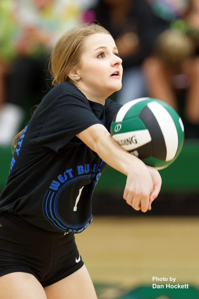 Photo by Dan Hockett West Burlington's Mckenzie Fry bumps the ball in to play against Van Buren Tuesday night in West Burlington. Van Buren defeated West Burlington, 19-25, 27-25, 25-17, 26-24.
