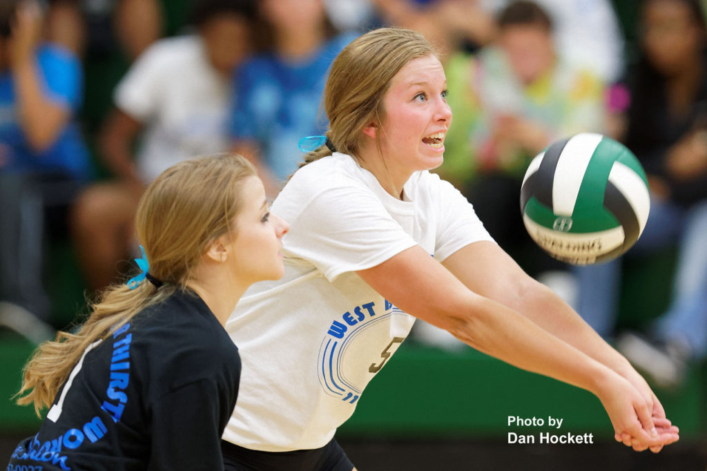 Photo by Dan Hockett West Burlington's Kamaryn Atwater bumps the ball in to play against Van Buren Tuesday night in West Burlington. Van Buren defeated West Burlington, 19-25, 27-25, 25-17, 26-24.