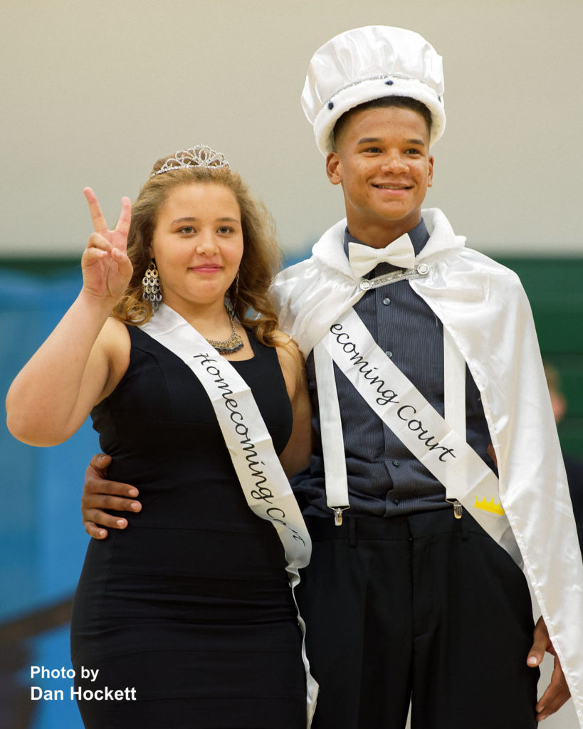 Photo by Dan Hockett West Burlington High School Seniors Rel Greer (right) and Tristin Randle (left) are crowned Homecoming King and Queen during the Pep Rally Thursday in West Burlington.