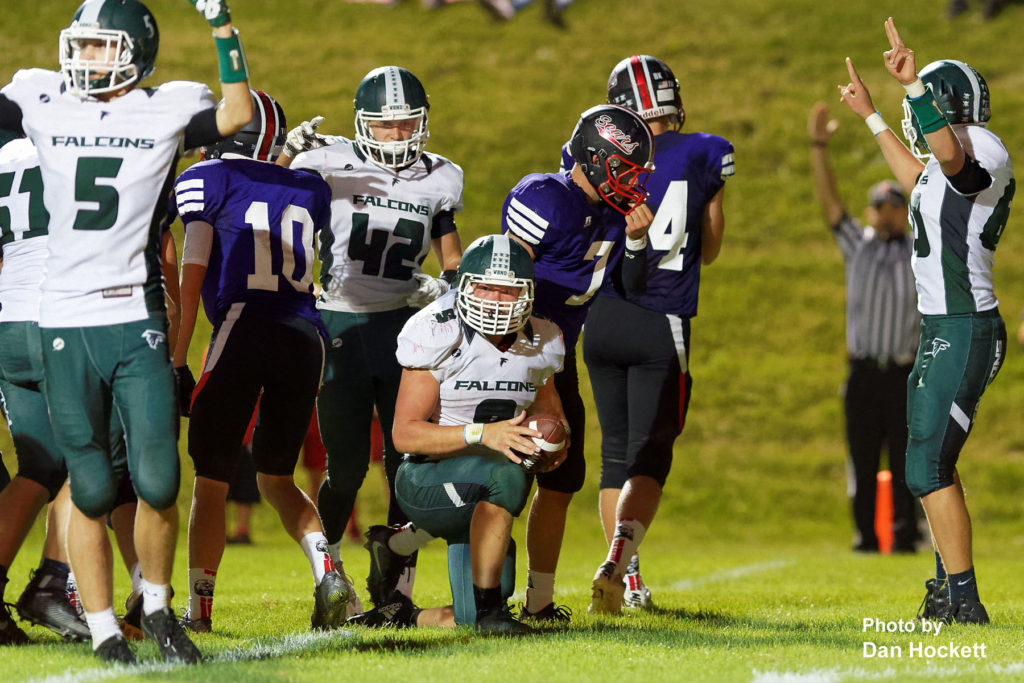 Photo by Dan Hockett West Burlington – Notre Dame Fullback Luke Shipley (kneeling) gets the touchdown call in the third quarter against West Branch Friday night in West Branch. WBND defeated No. 2 (1A) West Branch, 27-18.