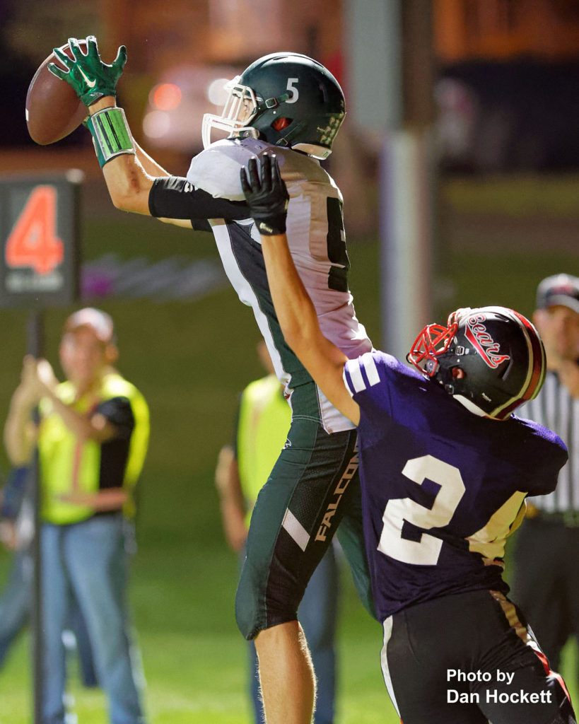 Photo by Dan Hockett Fourth quarter, 4th and goal.  West Burlington – Notre Dame Tight End Tate Snodgrass (5) catches a 6-yard touchdown pass from Quarterback Drake Day Friday night in West Branch. WBND defeated No. 2 (1A) West Branch, 27-18.