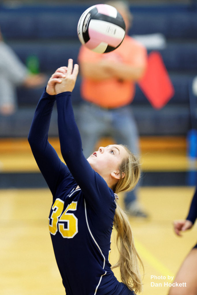 Photo by Dan Hockett Notre Dame's Carly Huffman keeps the ball in play against West Burlington Thursday night in Burlington. 12th Ranked Notre Dame defeated West Burlington, 25-15, 25-8, 25-19.