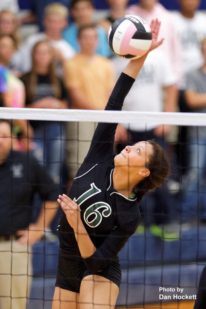 Photo by Dan Hockett West Burlington's Chloe Baker sends the ball over the net against Notre Dame Thursday night in Burlington. 12th Ranked Notre Dame defeated West Burlington, 25-15, 25-8, 25-19.