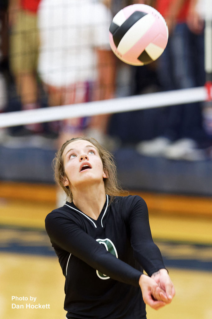 Photo by Dan Hockett West Burlington's Kinnady Atwater keeps the ball in play against Notre Dame Thursday night in Burlington. 12th Ranked Notre Dame defeated West Burlington, 25-15, 25-8, 25-19.