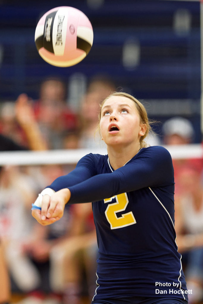 Photo by Dan Hockett Notre Dame's Claire Hackenmiller bumps the ball in to play against West Burlington Thursday night in Burlington. 12th Ranked Notre Dame defeated West Burlington, 25-15, 25-8, 25-19.
