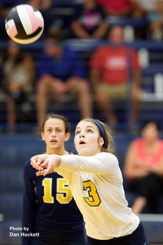 Photo by Dan Hockett Notre Dame's Abby Crowner (3) bumps the ball in to play against West Burlington Thursday night in Burlington. 12th Ranked Notre Dame defeated West Burlington, 25-15, 25-8, 25-19.